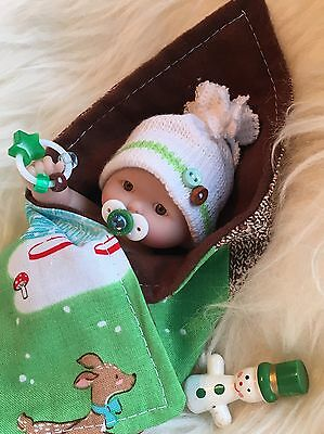 "Holiday 5-6"" Baby BOY Winter Doll Clothes~Binkie~For Mini Reborn~Berenguer~OOAK"