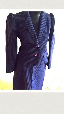 Vintage Small 70S/80S Pinstripe Skirt Suit