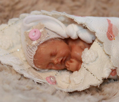 "OOAK Sweet Baby Girl~2-1/2"" Polymer Clay Doll~Living Skin Tone~GHSP~Hair~Layette"