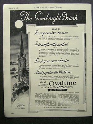 1930s advert for OVALTINE bedtime beverage the good-night drink advertising 1939