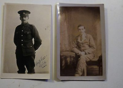 Two WW1 Postcards,Soldier before and after becoming a casualty , unposted RP