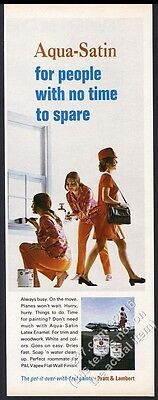 1968 United Airlines stewardess photo Pratt & Lambert house paint print ad