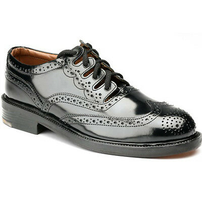 New Leather Kilt Shoes Thistle - Standard Ghillie Brogue - Black - 10.5 UK