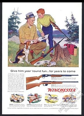 1959 Winchester model 61 77 rifle father son art vintage print ad