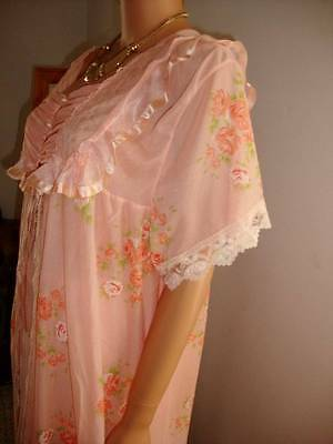 Coral & Multi Coloured Floral Print Nylon Lace Full Length Peignoir Negligee L