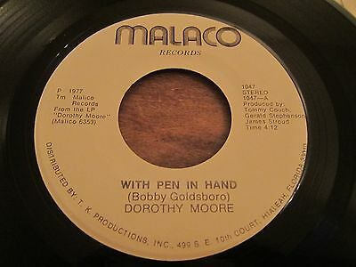 """Dorothy Moore - With Pen In Hand - Rare 1977 Soul Ballad - Us Pressing 7"""" Vg+C"""