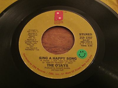 """The O'jays - Sing A Happy Song - 1979 Us Pressing - 7"""" In Very Good Plus Con"""