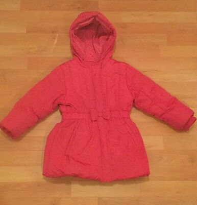 GIRLS M&S Pink 4-5 years Winter Bow Hooded Coat