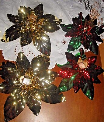 **set Of 4 Bling Christmas Holiday Metal Candlestick Holders**