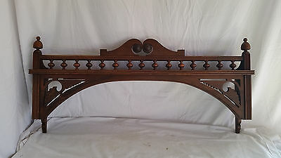 Antique Fancy Victorian Wood Mantle Shelf,Cornice,Valance,Spools & Scrolls