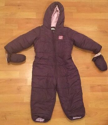 Girls 2-3 Years Snowsuit Purple Winter Warmer with gloves