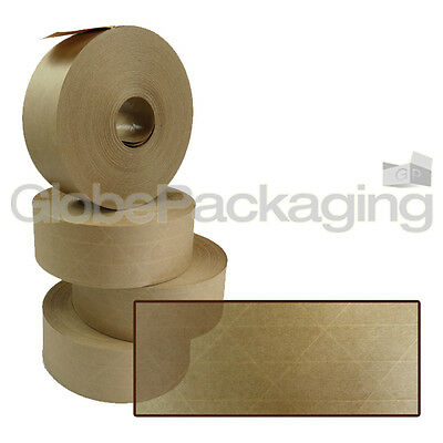 6 x Rolls Of REINFORCED Gummed Paper Water Activated Tape 48mm x 100M, 130gsm