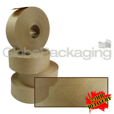 96 x Rolls Of REINFORCED Gummed Paper Water Activated Tape 48mm x 100M, 130gsm