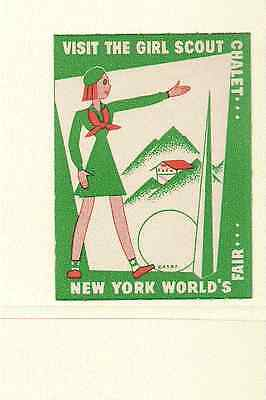 1939 New York World's Fair Poster Stamp Advertising Girl Scouts Women