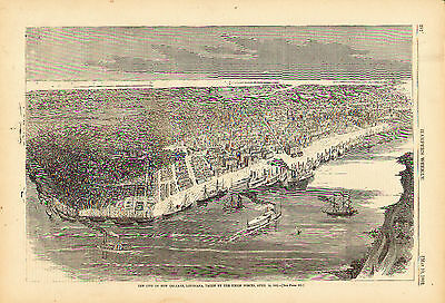 1862 Bird's Eye View of NEW ORLEANS The Big Easy - Taken by the UNION FORCES