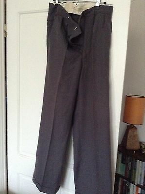 Vintage 50's Grey Trousers High Waist Turn Up Button Front 32 W 29 L
