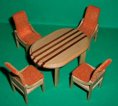 Vintage Lundby Dolls House Manor Dining Table & Chairs & Card *rare*