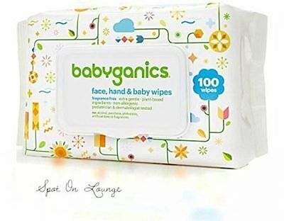 2 Babyganics 100-Count Fragrance-Free Face, Hand Baby Wipes (Total 200 count)