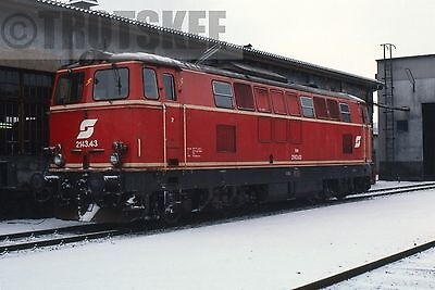 35mm Slide OBB Austria Railways Diesel Loco 2143 43 Gmund 1985 Original