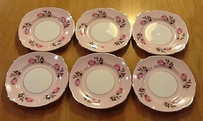 Vintage Duchess Bone China Pink Roses Tea Plates Side Plates x 6