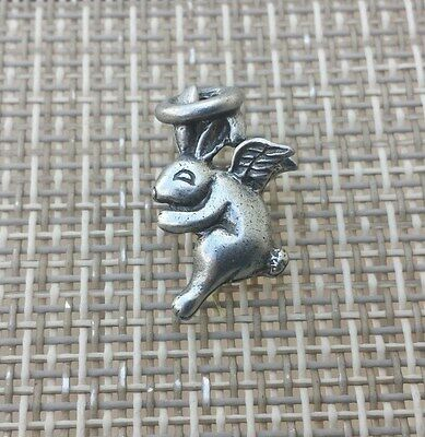 RABBIT Always Get His CARROT JEWELRY 1 Rabbit Angel with Wings Pewter Pin