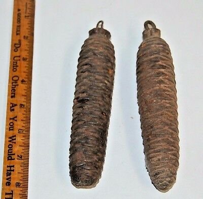 Vintage Cuckoo Clock Parts -  2 Weights Antique Pine Cone Cast Iron