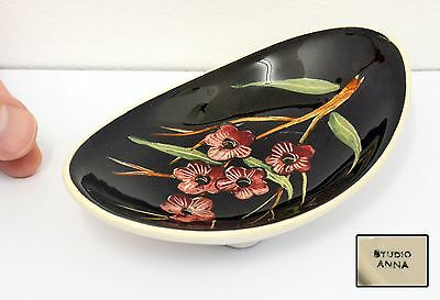 Lovely Vintage Studio Anna Hand Painted Ceramic / Pottery Dish, Floral Design