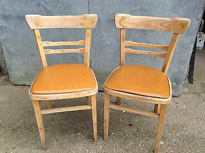 Vintage Retro Kitchen Dining Chairs x 2 PVC Seats 60's Project TLC