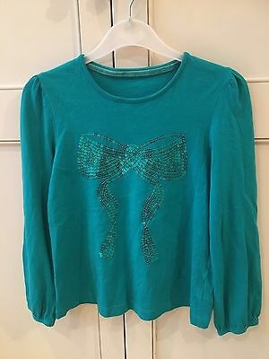 Girls Pretty Green Top With Sequins, Size 7-8 Mothercare