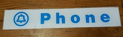 BELL SYSTEMS Telephone Booth Sign Pay Phone White & Blue Plexi Glass Vintage