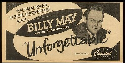 1952 Billy May photo Unforgettable record release trade print ad