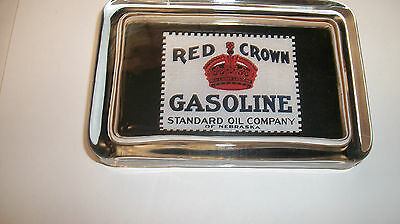 Red Crown Standard Oil of NE Gas Station Advertising Logo Sign GLASS PAPERWEIGHT