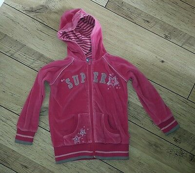 Pink pumpkin patch hooded velvety zip up cardigan top age 6 years stars