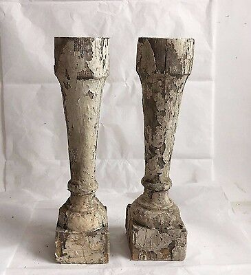 Two(2)1890's RECLAIMED Wood SHABBY Candle Stands Crusty White Balusters F9