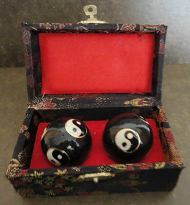Set Of 2 Cloisonne Black Balls In Black, Red And Gold Box