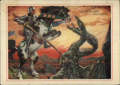 Knight Slaying Dragon Fantasy Mailed From Honduras c1930s Continental Postcard