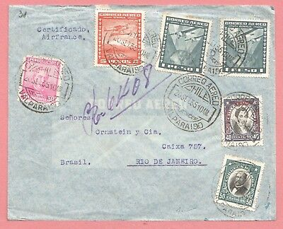 1935 Chile Multi Franked Registered Airmail Cover Valparaiso To Brazil
