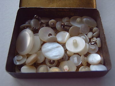 ^ Vintage Buttons - Mother Of Pearl - In Vintage Tin - Criterion Pins [W]