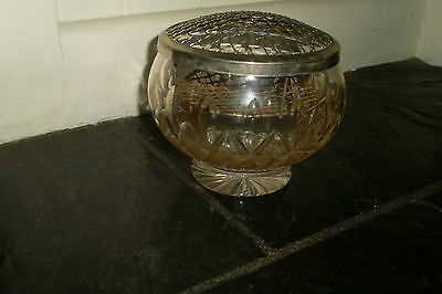 Vintage Retro Crystal / Cut Glass Rose Bowl / Large Vase