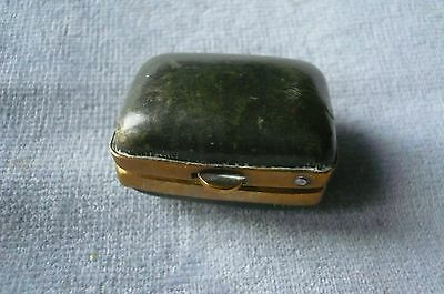 Super Antique Gilt Metal And Leather, Velvet Lined Thiimble Box/holder