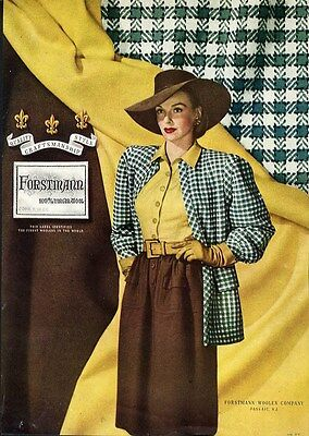 FORSTMANN Wool Fashion Ad 1946 - Check Suit Jacket