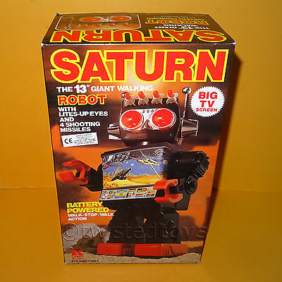 """Vintage Kamco Saturn The 13"""" Giant Walking Robot Battery Powered Space Toy Boxed"""