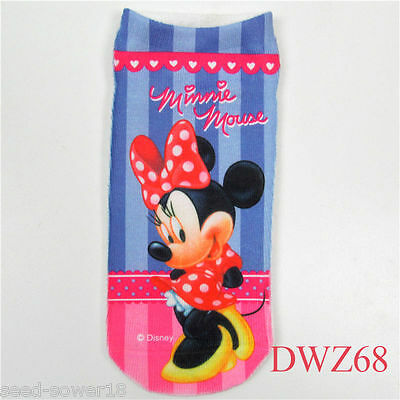 MINNIE MOUSE Cartoon Trainer SOCKS; UK 2-6, 1 pair 3D Digital Photo, UK Sale GB