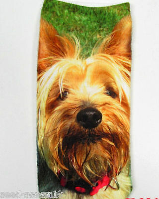 YORKSHIRE TERRIER Puppy DOG Trainer 3D Photo YORKIE SOCKS UK Size 3-7, 1pr SoxUK