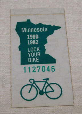 1980/82 Minnesota bicycle license plate sticker