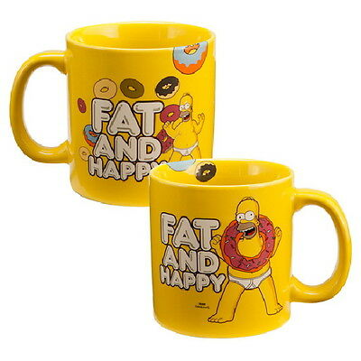 The Simpsons Homer Fat and Happy 20 oz Illustrated Ceramic Coffee Mug NEW UNUSED