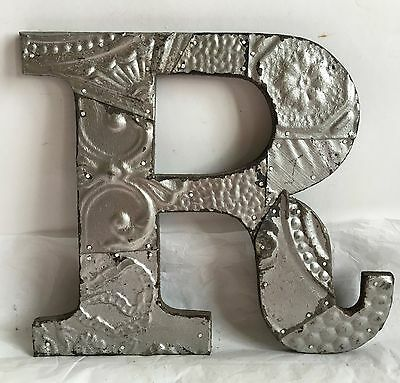 """Large Antique Tin Ceiling Wrapped 12"""" Letter 'R' Patchwork Metal Mosaic Silver R"""