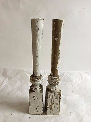 Two(2) RECLAIMED Wood Candlesticks SHABBY Candle Holders Antique White D21
