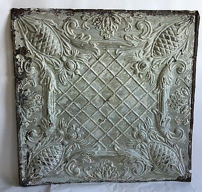 "1890's 24"" x 24"" Antique Reclaimed Tin Ceiling Tile Taupe C60 Metal Anniversary"
