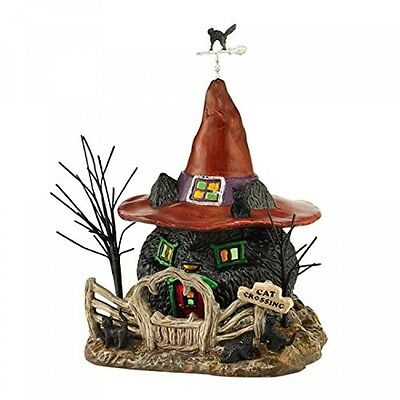 "Department 56 Snow Village Halloween Black Cat Shack Light House, 7.88"", New"